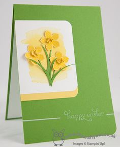 handmade Easter/Spring card from The Crafty Owl's Blog: Welsh Daffodils for Easter! .. dimensional daffodils on watercolor wash ... luv the asymmetrical layout and rounded corners ... Stampin'Up!