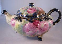 "Antique Nippon 3 Footed Cobalt Tea Pot with Plush Roses ""Maple Leaf"" 52   eBay"