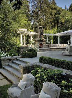 MY DREAM Outside Fireplace, Backyard Fireplace, Backyard Patio, Backyard Landscaping, Outdoor Living Areas, Outdoor Rooms, Outdoor Gardens, Outdoor Fireplace Designs, Outdoor Fireplaces