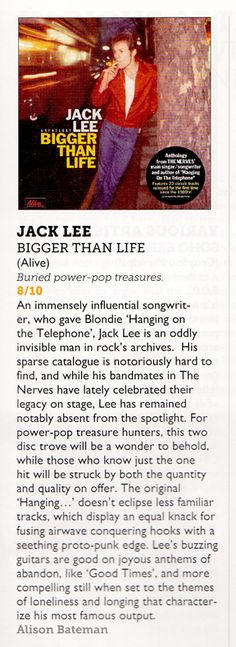 "8/10 review of Jack Lee ""Bigger Than Life"" from VIVE LE ROCK"