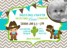 Cowboy Birthday Party Invitation - Cowboy Chevron Birthday Invite - Brown Turquoise Green - First Birthday Boy - Cowboy Cactus Horse on Etsy, $18.00