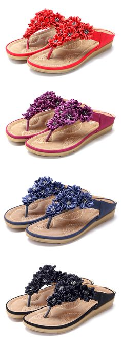 US$21.76  Socofy Flowers Bohemia Clip Toe Soft Beach Flat Slippers