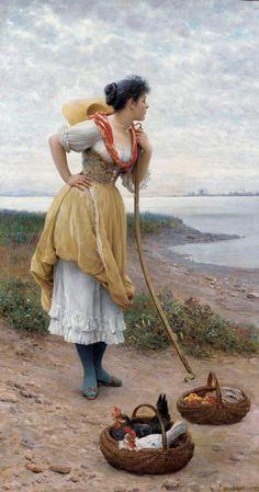 """""""Daydreaming"""" by Eugene de Blaas  Eugene de Blaas (Austrian, 1843 - 1931)"""