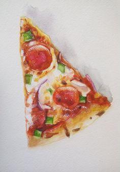 Pizza Watercolor Gouache Illustration Food Illustration by Ksushop #pizza #watercolor