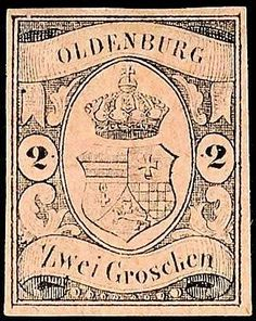 Old German States Oldenburg, Michel 7. 2 Gr black on dull reddish-carmine in perfect condition unused with original gum and hinge trace, expertized Thier, Michel 1. 300.-