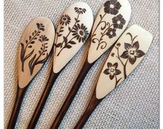 Custom Wood Burned Spoons Bees 'n' Honey design by SueMadeThat