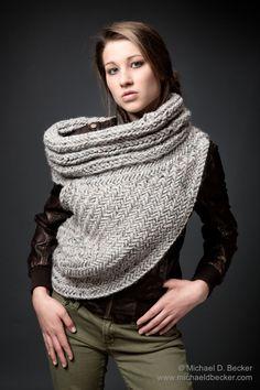 Kat Cazadora capucha bufanda chimenea de suéter tejido a por KYSAA