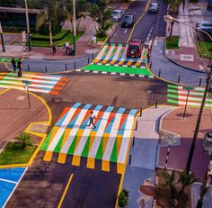 This crosswalk is in San Isidro, Lima and it's by Carlos Cruz-Diez. While it's clearly a colourful addition to the urban landscape, this intervention will have the added benefit of calming traffic, Image credit: and Miguel Mendoza Graffiti Images, Best Graffiti, Street Art Graffiti, Pedestrian Crossing, Street Installation, Best Street Art, Environmental Design, Public Art, Public Spaces