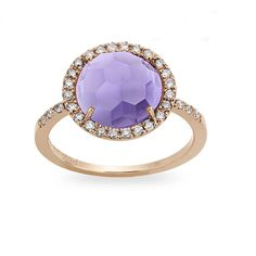 #Zoccai 18K Rose #Gold, #Amethyst & #Diamond #Ring
