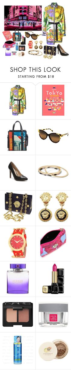 """VERSACE IN TOKYO"" by rebeccadavisblogger ❤ liked on Polyvore featuring Versace, Bookspeed, Balenciaga, Maui Jim, Journee Collection, Banana Republic, Versus, Guerlain, NARS Cosmetics and Hada Labo Tokyo"