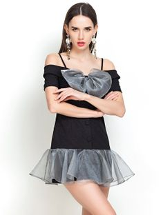 Black Off the Shoulder Bow Ruffle Dress - Fashion Clothing, Latest Street Fashion At Abaday.com