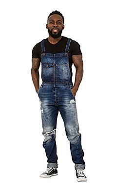 f8a8f2b0e8 'Twisted Seam' Mens Dungarees - Slim Fit Bib Overalls Destroyed Denim  Details LARRY: Amazon.co.uk: Clothing