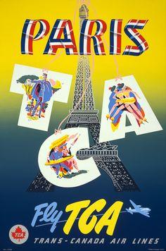 Vintage Paris Travel Poster. #vintage #travel #paris #france
