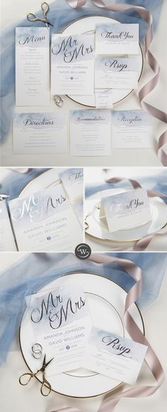 Shades Of Dusty Blue Watercolor Silver Foil Wedding Invitations Silver Wedding Invitations, Affordable Wedding Invitations, Destination Wedding Invitations, Wedding Event Planner, Watercolor Wedding Invitations, Wedding Stationary, Wedding Expenses, Dusty Blue, Event Branding