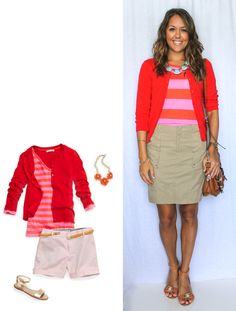 Today's Everyday Fashion: Orange and Pink Petite Fashion, Pink Fashion, Fashion Beauty, Js Everyday Fashion, Everyday Outfits, Summer Work Outfits, Cool Outfits, Khaki Skirt Outfits, Budget Fashion