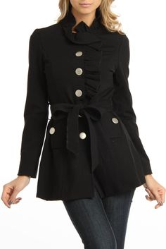 Studio 404 Button Down Coat In Black I like this style jacket for winter. Very cute.