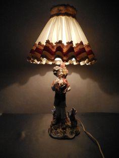 Italian Porcelain Figurine Capodimonte Style Lamp Floral w Shade Italy Majolica