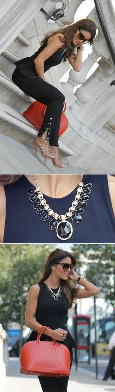 Peplum: Top Shop / Pants: Zara / Sandal: Sam Edelman / Purse: Carlo Pulicati / Sunglasses: Tom Ford / Maxi Necklace: Boutique Ludora / Clock: MK