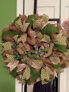 Burlap St Patrick day wreath by WREATHSANDMOREBYTINA on Etsy
