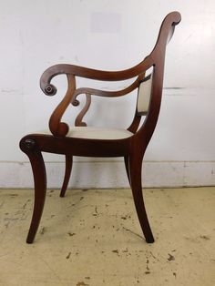 1950s 18c Antique Style Genuine Solid Mahogany Duncan Phyfe Gooseneck Arm Chair