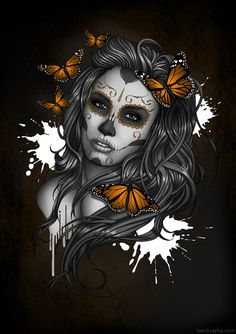 SugarSkull Girl by Ben Krefta Digital A1 Print