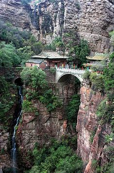 "Mount Cangyan or ""Green Cliff Mountain"") is a scenic area in Jingxing County, Hebei Province, China, Places To Travel, Places To See, Places Around The World, Around The Worlds, Beautiful World, Beautiful Places, Famous Buildings, China Travel, Filming Locations"