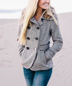 Look what I found on #zulily! So Perla Black Tweed Hooded Pea Coat by So Perla #zulilyfinds