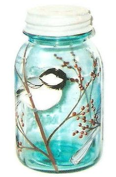 Chickadee Vintage Quart Mason Glass Jar Bird Hand-painted Black Capped Chickadee by Lisa Hayward. $22.95, via Etsy.
