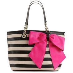 Betsey Johnson Bow Tastic Striped Tote ($80) ❤ liked on Polyvore featuring bags, handbags, tote bags, purses, sac, totes, vibrant colors, stripe tote bag, striped tote and betsey johnson tote bags