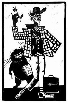 На маленькой головке жокейский картузик, клетчатый кургузый воздушный же пиджачок... Гражданин ростом в сажень, но в плечах узок, худ неимоверно, и физиономия, прошу заметить, глумливая. Графика Александра Иванова