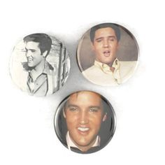 """Elvis Pins, Original """"The King"""" Badges, 50s rock and roll hound dog buttons by JeepsterVintage on Etsy"""