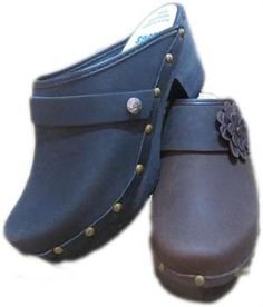 High Heel Decoratived Nailed, your choice of snap-strap, Tessa Clog