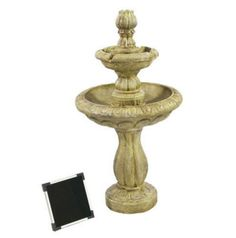 Outdoor Solar On Demand Two Tier Tulip Water Fountain Earth Finish Garden Decor