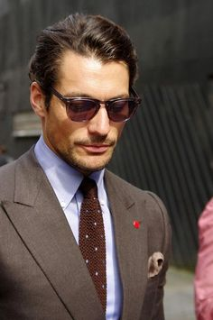 David Gandy Brown Knitted Tie Blue Polka Dots
