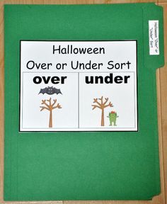 """The Halloween """"Over"""" and """"Under"""" Sort File Folder Game is a Halloween-themed sorting activity. In this file folder game, students sort cards by the position of the Halloween object:  over or under."""