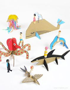 DIY Peg Dolls with Cardboard Sea Creatures: Check out the other animal and vehicle templates too! Great Tutorial for the Peg Dolls and Free Printable Templates From Mr Printables. Cardboard Animals, Paper Animals, Cardboard Art, Cardboard Crafts Kids, Cardboard Playhouse, Wooden Crafts, Kids Crafts, Projects For Kids, Diy For Kids