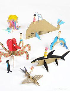 Peg Dolls & Cardboard Sea Creatures - Mr Printables