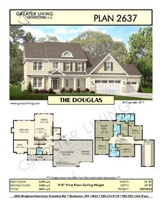 Plan 2637: THE DOUGLAS- Two Story House Plan - Greater Living Architecture - Residential Architecture
