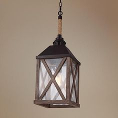 "Feiss Lumiere 9 1/2"" Wide Weathered Oak Mini Pendant Light"