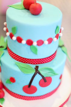 This will be at a birthday party soon at our house. I love cherries, cherry print and now cherry cake!