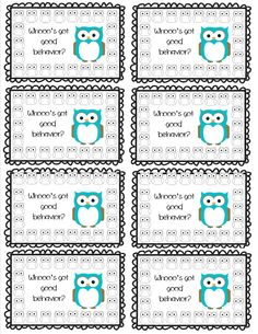 Free Job Card Template Awesome Owl Punch Cards Positive Behavior Incentive Program  Owl Punch .