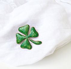 2e9b763b90ac Four Leaf Clover Lucky Brooch, Ireland symbol Green brooch St Patricks Day  gift for luck, Handmade Pin Badge St Patrick's Day