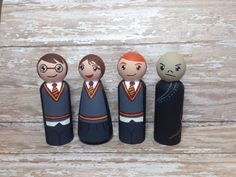 In Stock: Set of 4 Wizarding Peg People on by MakingsFromMommyland