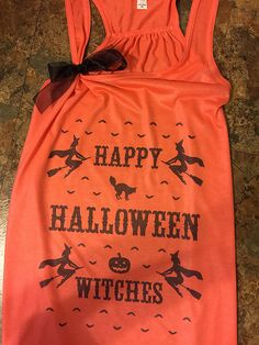 Items similar to SALE Halloween Shirt - Happy Halloween Witches -Racerback tank trick or treating, to gym, to a party, etc - Ugly Christmas Sweater style on Etsy Halloween Shirt, Happy Halloween, Halloween Party, Halloween Witches, Halloween Ideas, Movie Marathon, Marathon Gear, Black High Boots, Orange Shirt