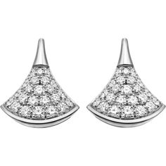 BVLGARI Divas' Dream 18kt white-gold and diamond earrings (€3.420) ❤ liked on Polyvore featuring jewelry, earrings, bulgari earrings, diamond jewelry, white gold diamond earrings, pave diamond jewelry and white gold earrings