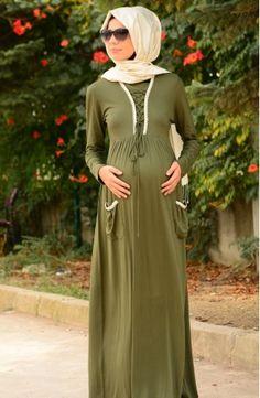 Sefamerve, Tesettür Hamile Elbise 4108-03 Haki Yeşil