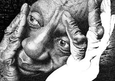 "This realistic drawing called ""The Thinker"" is done by super talented Mike Baggio. It was done using only ink."