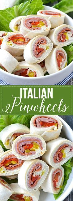 Pinwheels These super yummy Italian Pinwheels are so easy to make and are filled with Italian meats and cheese. A definite must try!These super yummy Italian Pinwheels are so easy to make and are filled with Italian meats and cheese. A definite must try! Finger Food Appetizers, Appetizers For Party, Appetizer Recipes, Bite Size Appetizers, Party Snacks, Italian Meats, Italian Wine, Italian Cheese, Pinwheel Recipes