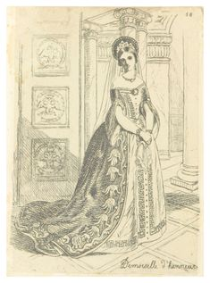 """Придворная дама в парадном платье, 1840-е гг., рисунок (Demoiselle d'honneur, a Ball event in the 1840s, Saint Petersburg). Портрет из книги """"A Residence on the Shores of the Baltic. Described in a series of letters. By Elizabeth Rigby, afterwards Lady Eastlake"""" (1842)"""