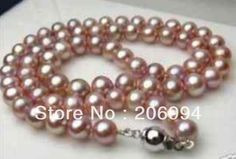 """wholesales designer genuine purple pearl necklace 7-8mm 18"""" 2pc/lot fashion jewelry,gift"""